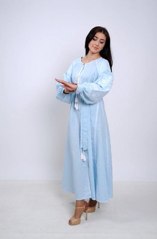 Платье Ч 7251 Голубой 100% лен Chichka - фото 2