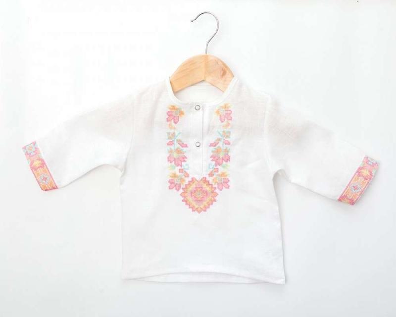 Рубашка детская СБ-022 Белый 100% лен Chichka - фото 4