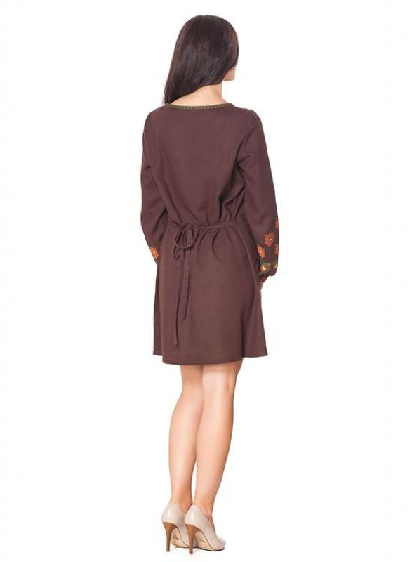 Платье СЛ-136 Коричневый 55% лен + 45% вискоза Chichka - фото 4