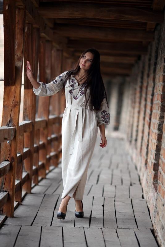 Платье Ч 7080 Белый 100% лен + натуральное кр Chichka - фото 3
