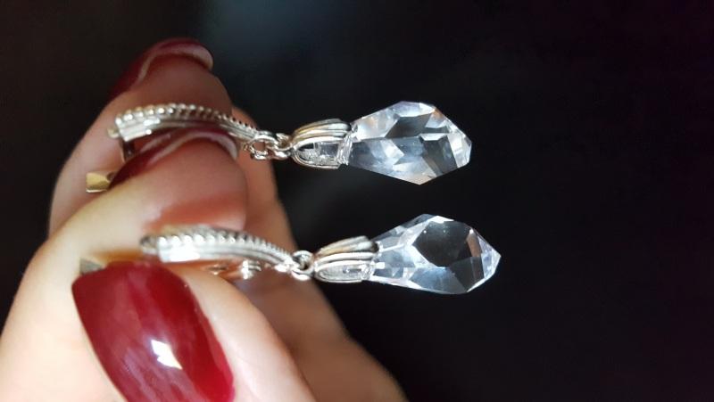 Серьги Хрусталь с кристаллами Сваровски Белый Серебро 925 пробы, криста Ивченко Елена - фото 5