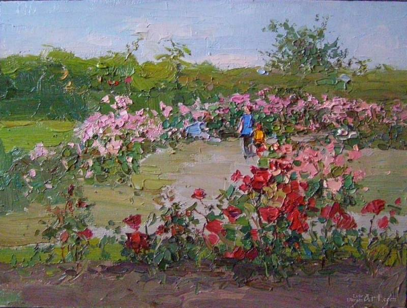 """""""Розы в саду""""  холст, масло Гамалей Григорий - фото 1"""