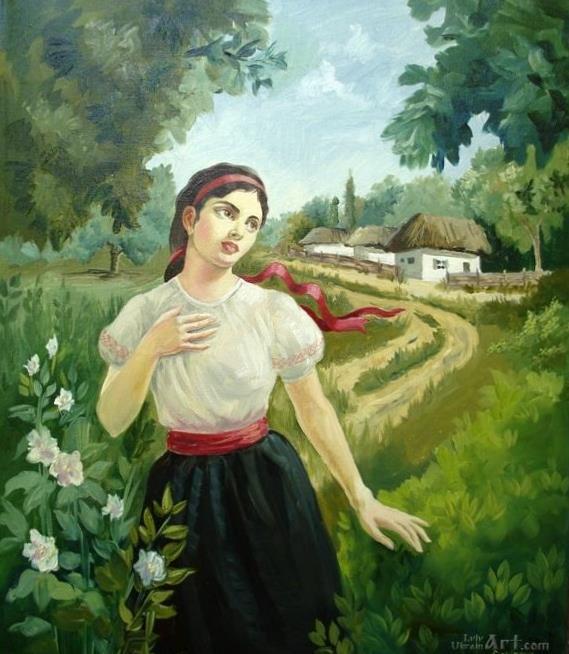 """Украинская девушка""  холст, масло Савинова Паулина - фото 1"