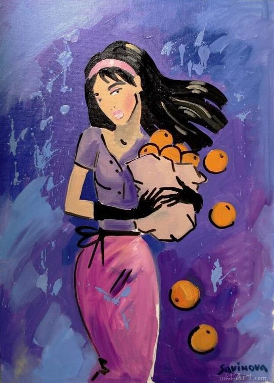 """Девушка с апельсинами""  холст, масло Савинова Паулина - фото 1"