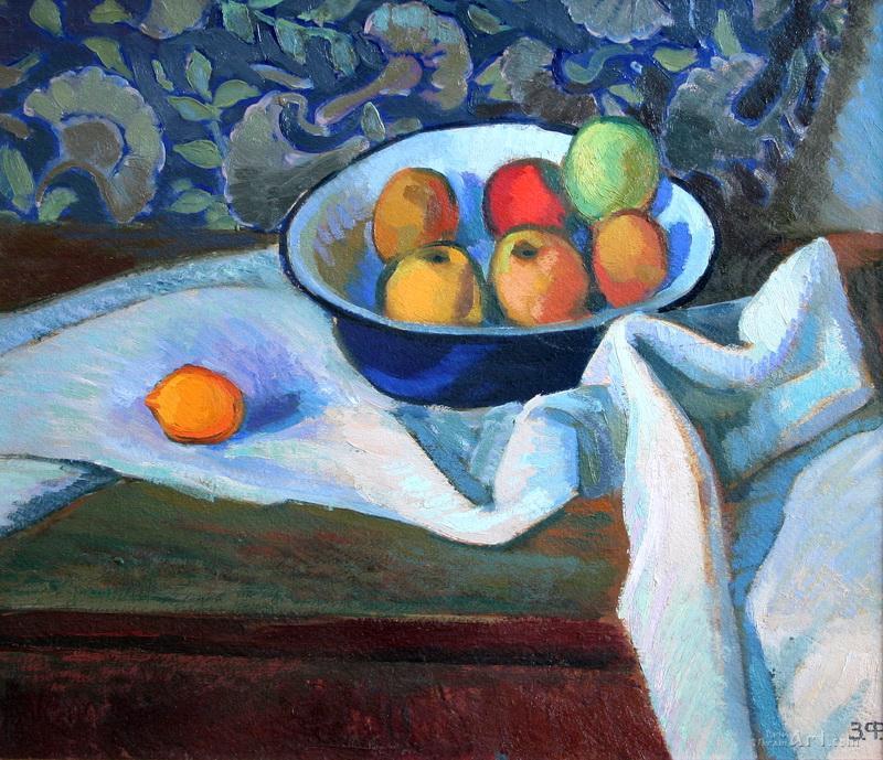 """Яблоки в миске""  картон, масло Флинта Зеновий - фото 1"