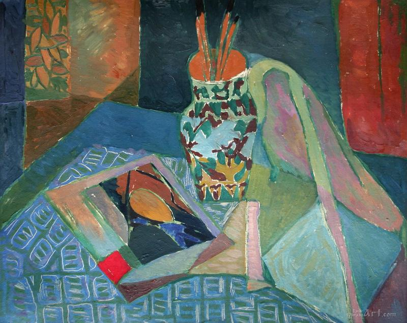 """Натюрморт с вазой и альбомом  Сезана""  картон, масло Флинта Зеновий - фото 1"