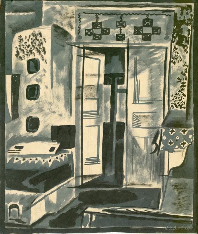 """Двери в интерьере""  бумага, тушь, кисть Флинта Зеновий - фото 1"