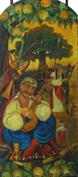 """Казак Мамай""  дерево, левкас, олія Горобчук Иван - фото 1"