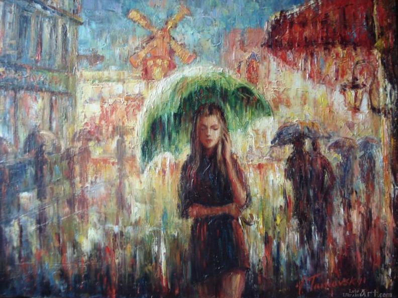 """Дождь в Париже""  холст, масло Тарнавский Анатолий - фото 1"