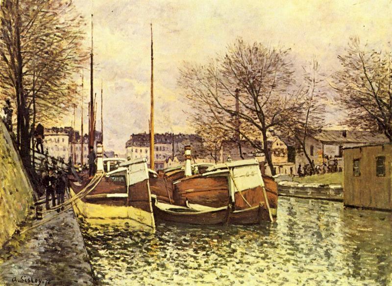 Лодки на канале Сен-Мартен в Париже  печать на холсте, натянут Сислей Альфред - фото 1