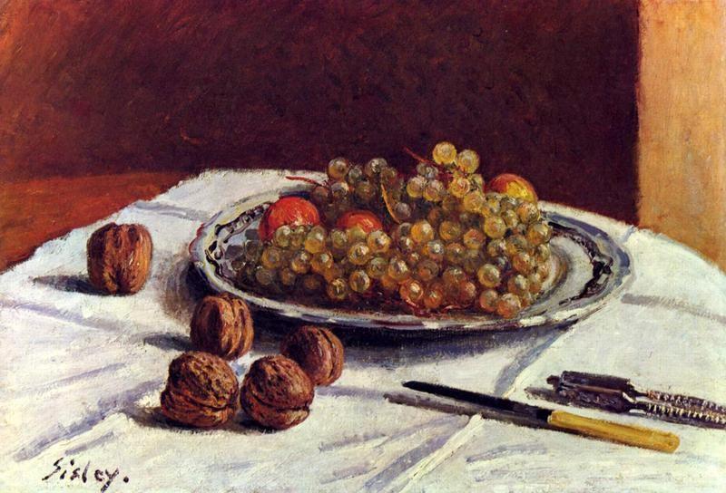 Натюрморт, виноград и орехи  печать на холсте, натянут Сислей Альфред - фото 1