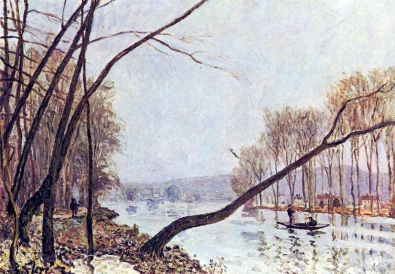 Берег Сены осенью  печать на холсте, натянут Сислей Альфред - фото 1