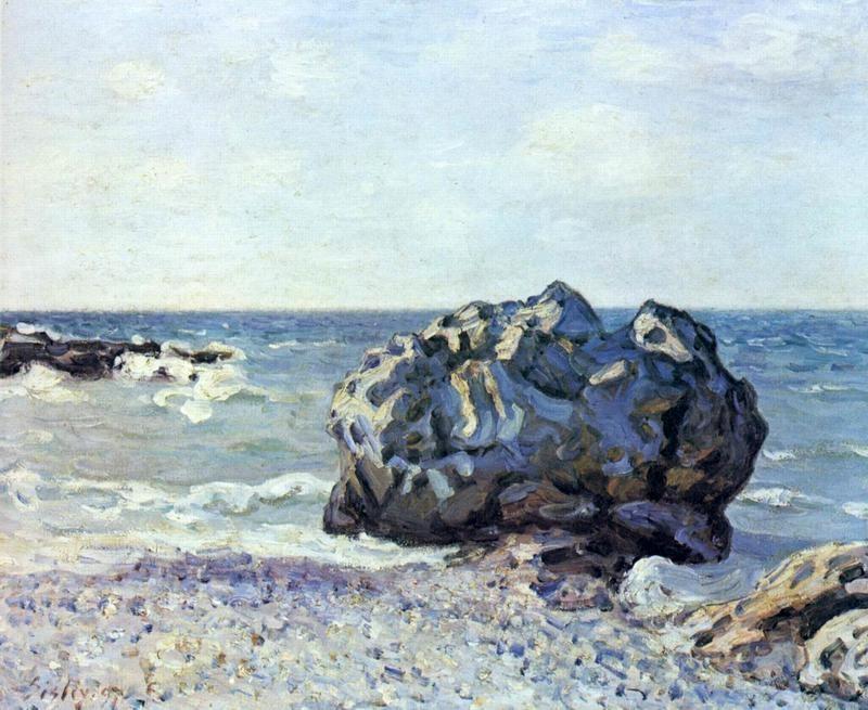 Скала в бухте Ланглан  печать на холсте, натянут Сислей Альфред - фото 1