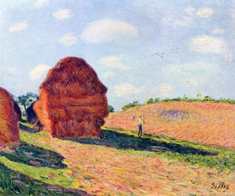 Стога сена  печать на холсте, натянут Сислей Альфред - фото 1