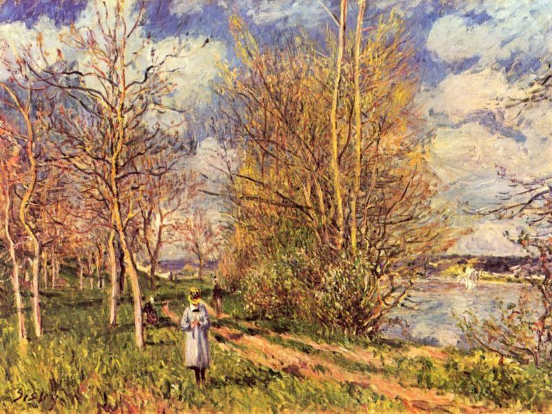 Весенняя лужайка в Би  печать на холсте, натянут Сислей Альфред - фото 1