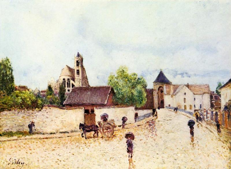 Дождь в Море-сюр-Луэн  печать на холсте, натянут Сислей Альфред - фото 1