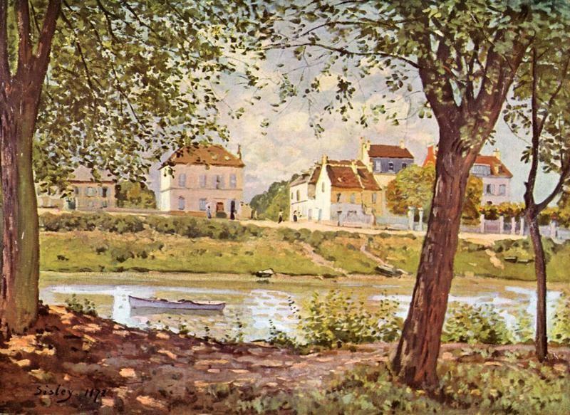Деревня на берегу Сены  печать на холсте, натянут Сислей Альфред - фото 1