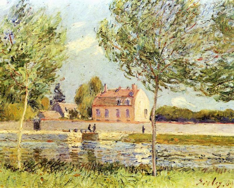 Дома на берегу Луэна  печать на холсте, натянут Сислей Альфред - фото 1