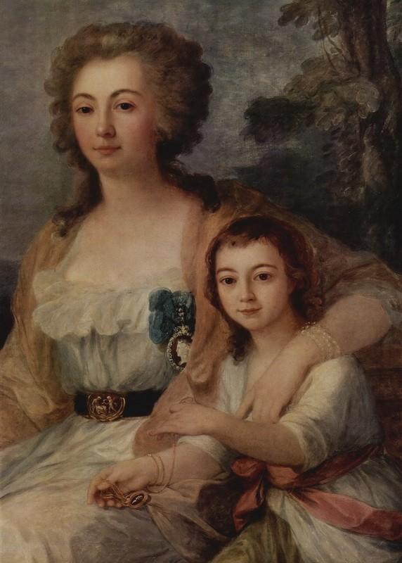 Портрет графини Анны Протасовой с племянниками  печать на холсте, натянут Кауфман Ангелика - фото 1