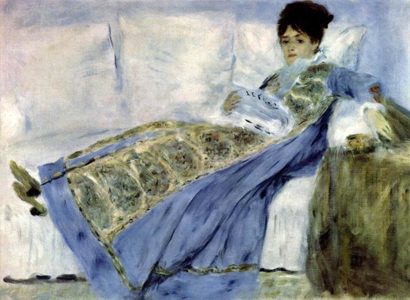 Мадам Моне на диване  печать на холсте, натянут Ренуар Огюст - фото 1