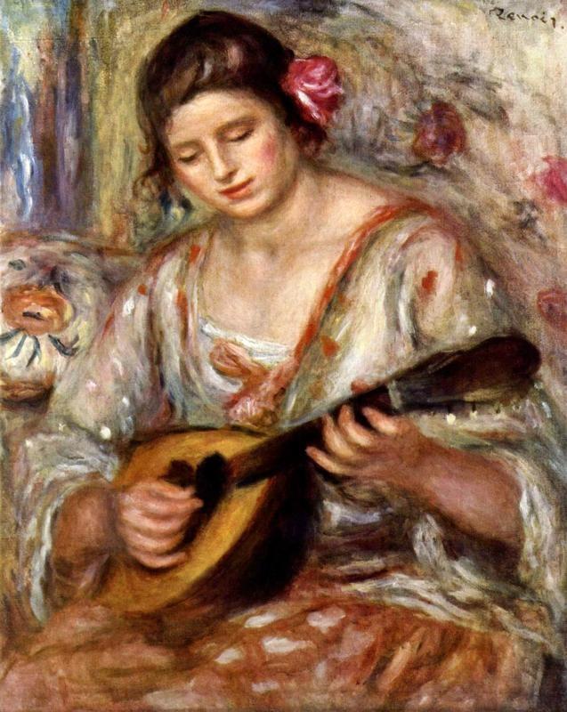 Девушка с мандолиной  печать на холсте, натянут Ренуар Огюст - фото 1