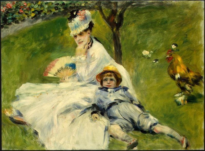 Мадам Моне с сыном  печать на холсте, натянут Ренуар Огюст - фото 1