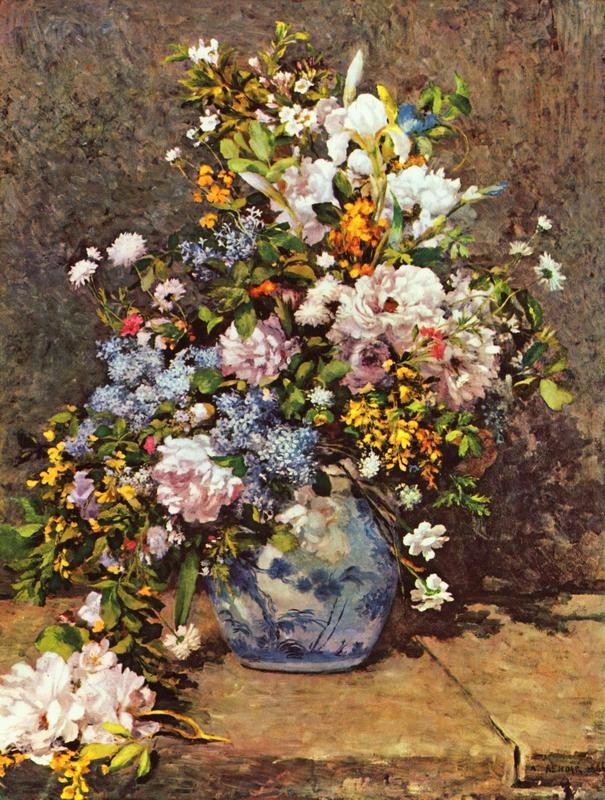 Натюрморт с большой цветочной вазой  печать на холсте, натянут Ренуар Огюст - фото 1