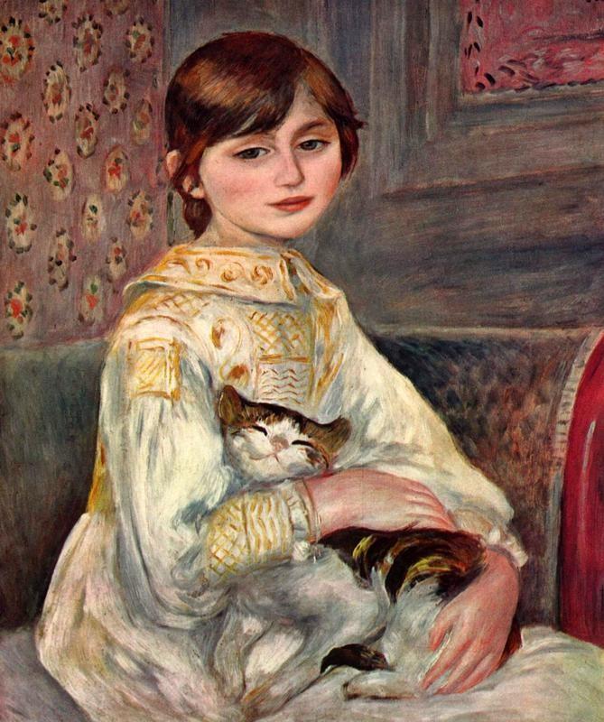 Портрет мадемуазель Жюли Мане с кошкой  печать на холсте, натянут Ренуар Огюст - фото 1