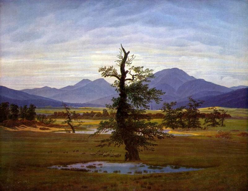 Одинокое дерево  печать на холсте, натянут Фридрих Каспар - фото 1
