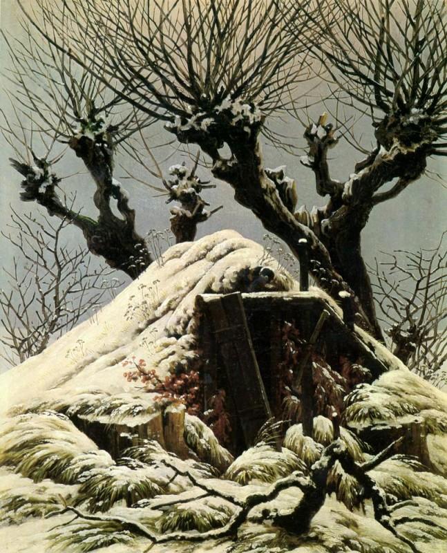 Хижина в снегу  печать на холсте, натянут Фридрих Каспар - фото 1