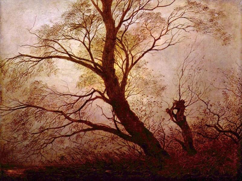 Деревья в лунном свете  печать на холсте, натянут Фридрих Каспар - фото 1