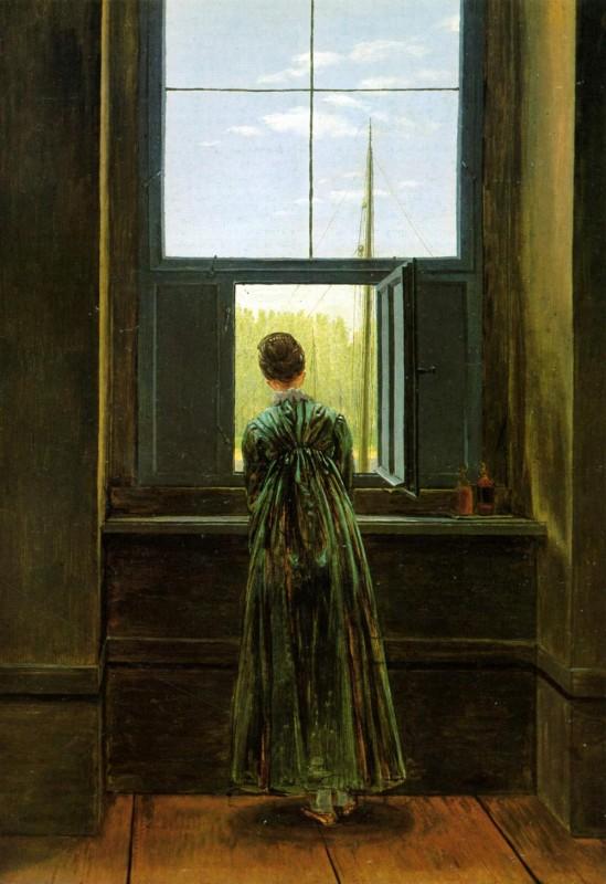 Женщина у окна  печать на холсте, натянут Фридрих Каспар - фото 1