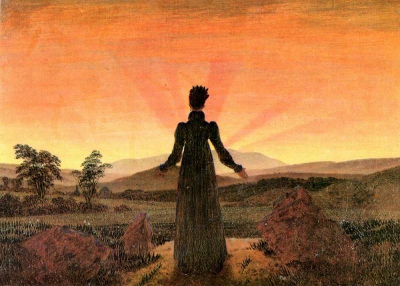Женщина в лучах утреннего солнца  печать на холсте, натянут Фридрих Каспар - фото 1