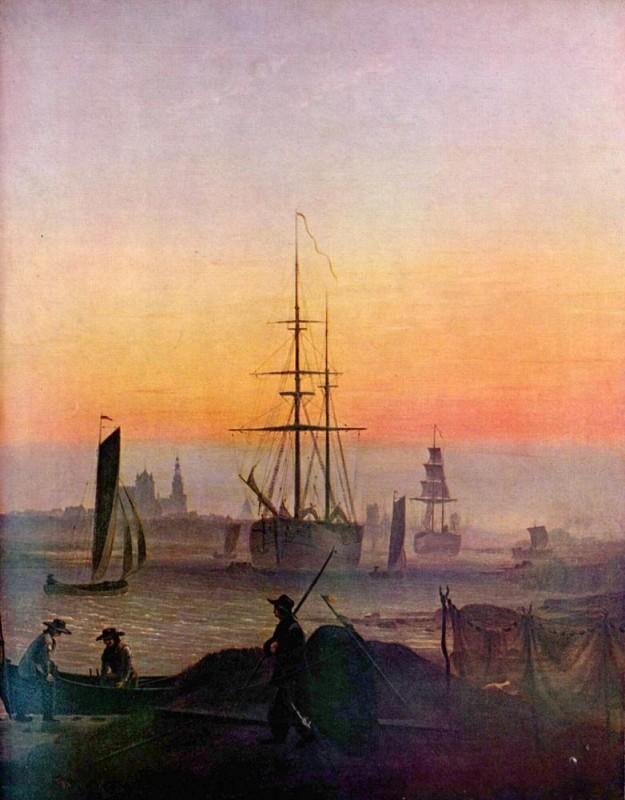 Корабли в гавани Грайфсвальда  печать на холсте, натянут Фридрих Каспар - фото 1