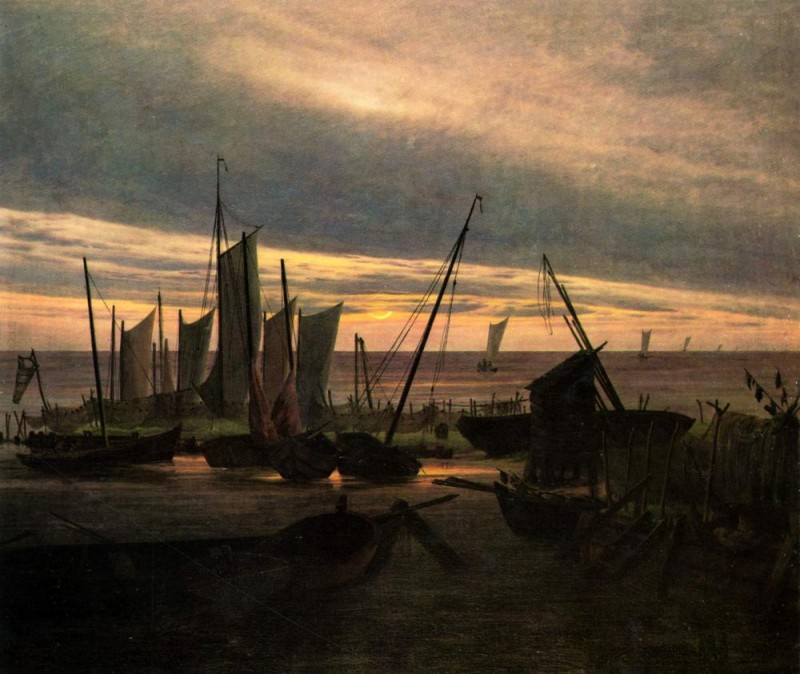 Корабли вечером в гавани  печать на холсте, натянут Фридрих Каспар - фото 1