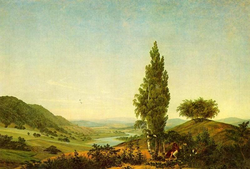 Лето (Пейзаж с влюблёнными)  печать на холсте, натянут Фридрих Каспар - фото 1