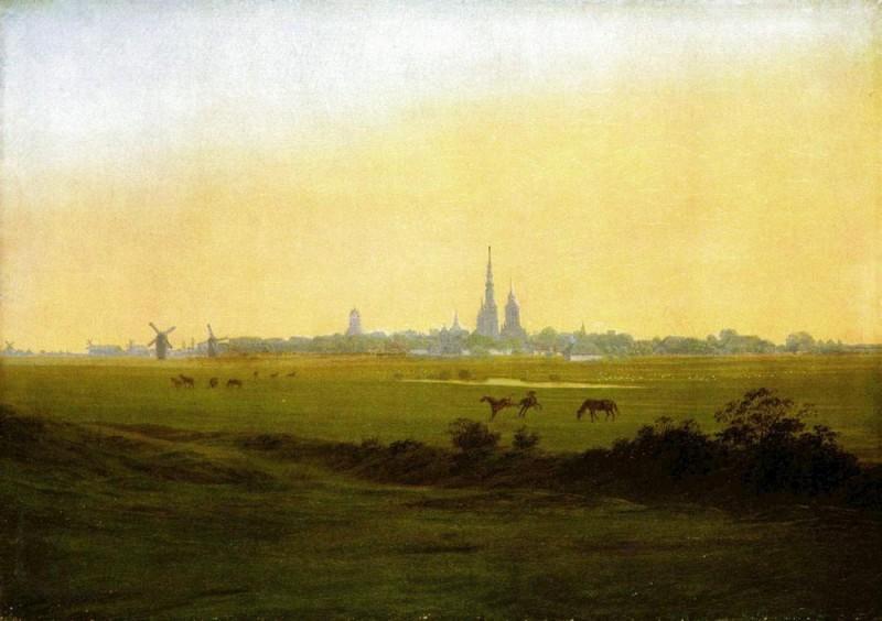 Луга под Грайфсвальдом  печать на холсте, натянут Фридрих Каспар - фото 1