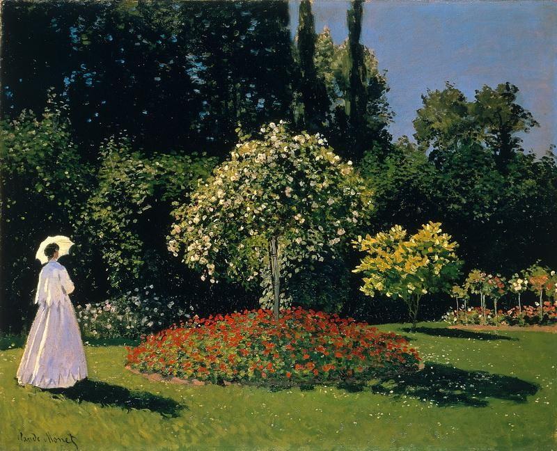 Жанна-Маргарита Лекадр в саду  печать на холсте, натянут Моне Клод - фото 1