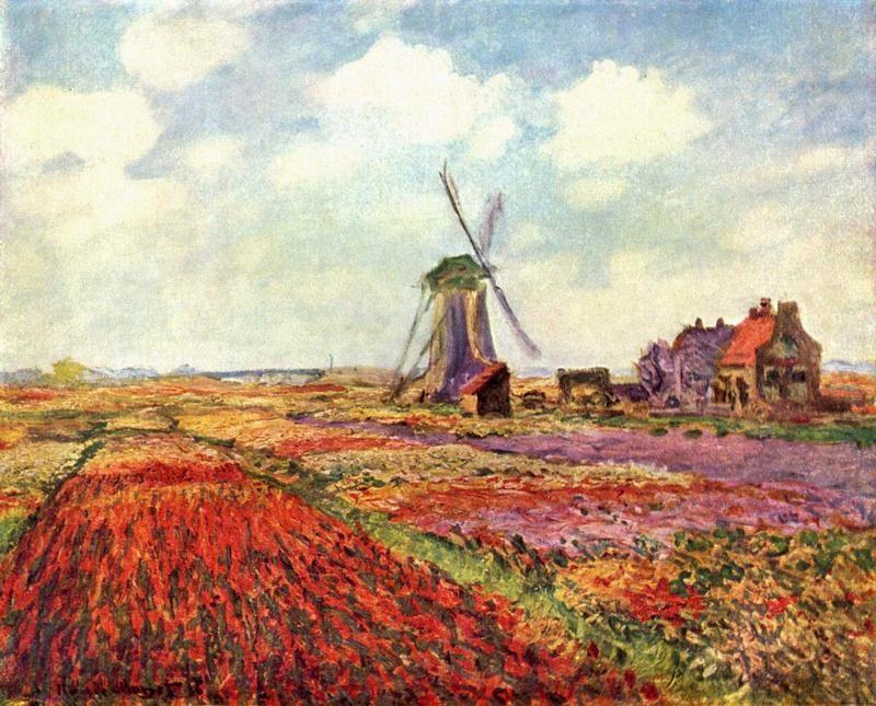 Тюльпаны Голландии  печать на холсте, натянут Моне Клод - фото 1