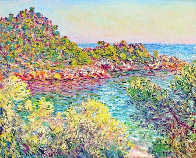 Пейзаж близ Монтекарло  печать на холсте, натянут Моне Клод - фото 1