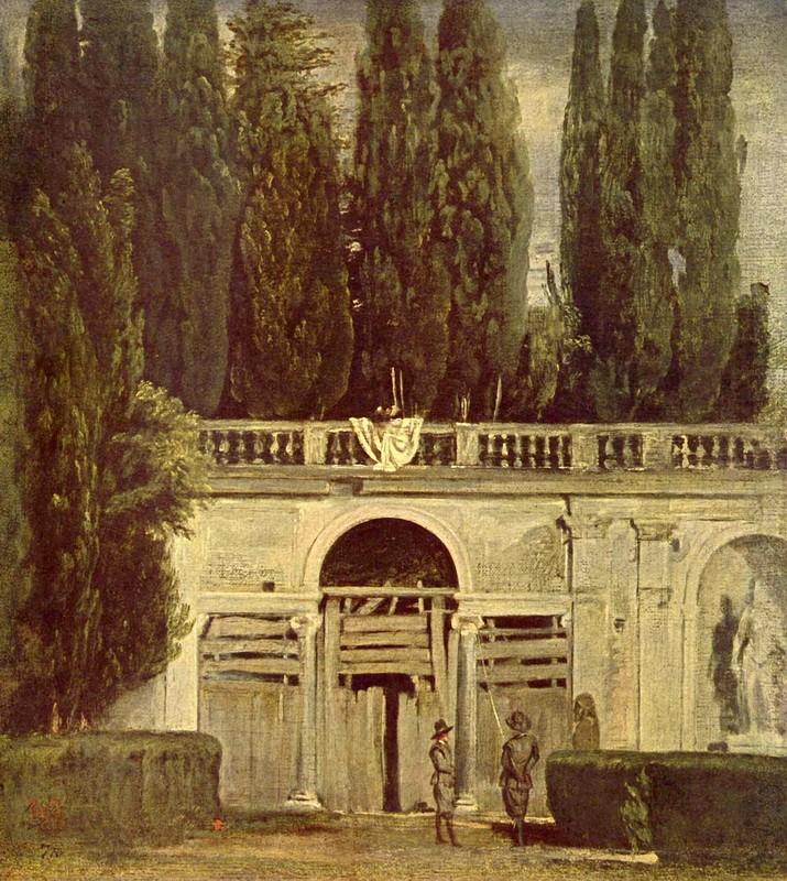 В саду виллы Медичи в Риме  печать на холсте, натянут Веласкес Диего - фото 1