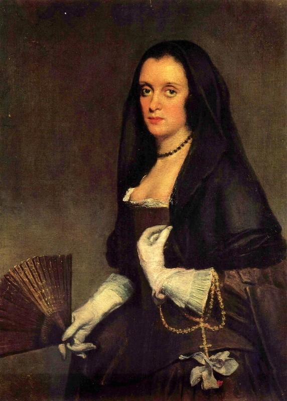 Портрет дамы с веером  печать на холсте, натянут Веласкес Диего - фото 1