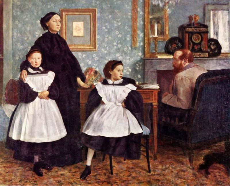 Портрет семьи Беллели  печать на холсте, натянут Дега Эдгар - фото 1