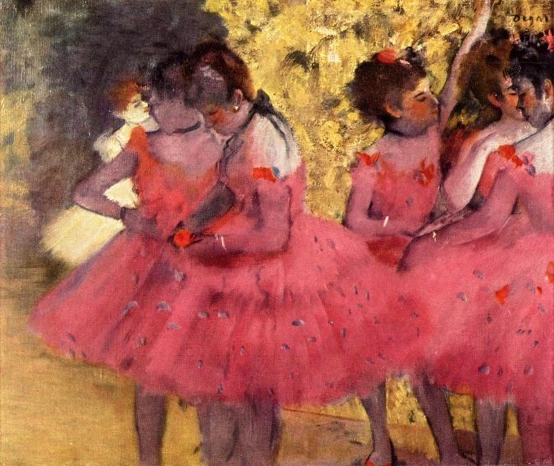 Розовые танцовщицы между кулис  печать на холсте, натянут Дега Эдгар - фото 1