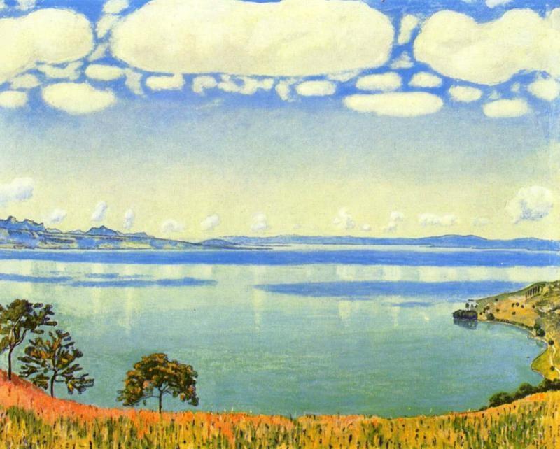 Вид Женевского озера с Шебре  печать на холсте, натянут Ходлер Фердинанд - фото 1