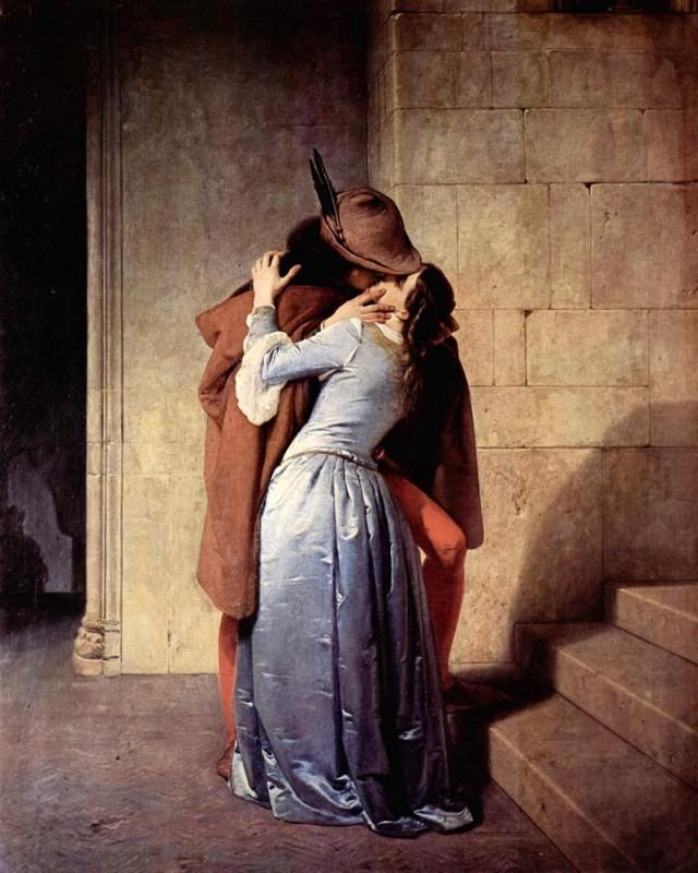 Поцелуй  печать на холсте, натянут Хайес Франческо - фото 1