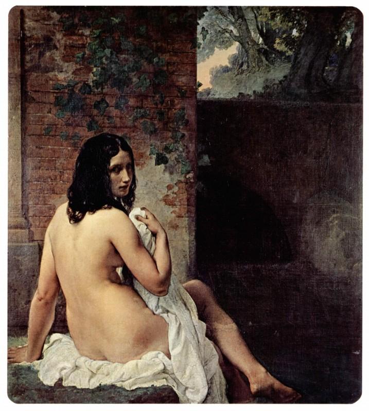 Купальщица, сидящая спиной  печать на холсте, натянут Хайес Франческо - фото 1
