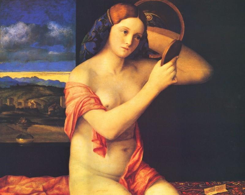 Голая молодая женщина перед зеркалом  печать на холсте, натянут Беллини Джованни - фото 1