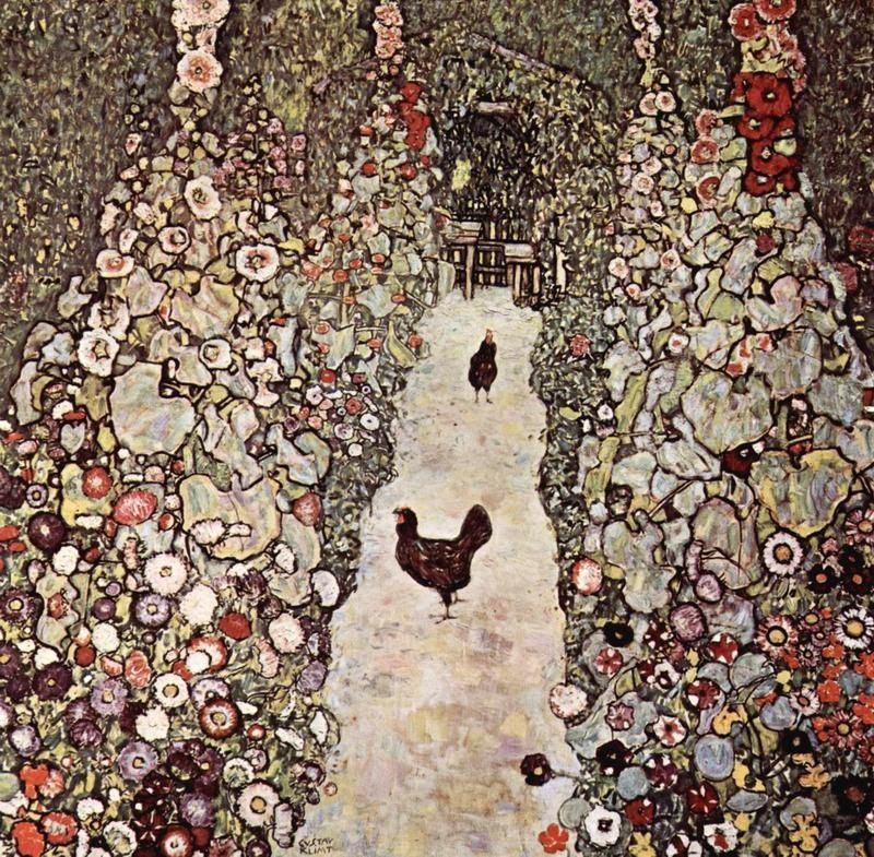 Сад с курами  печать на холсте, натянут Климт Густав - фото 1