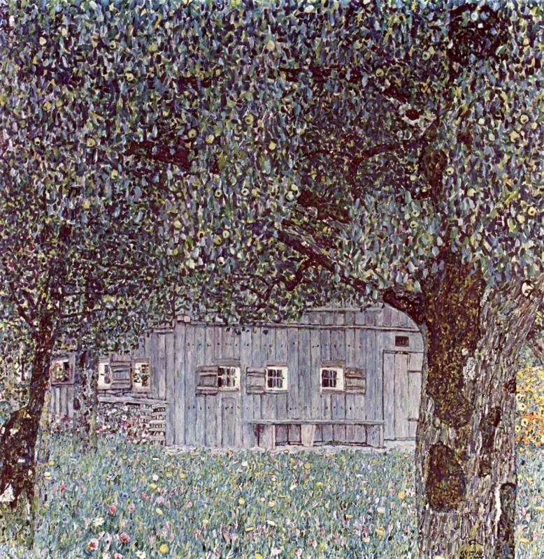 Крестьянский дом в Верхней Австрии  печать на холсте, натянут Климт Густав - фото 1